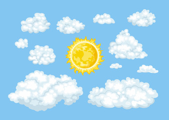 Cartoon clouds of different shapes and sun set. Vector illustration of cloudy blue sky in flat simple style.