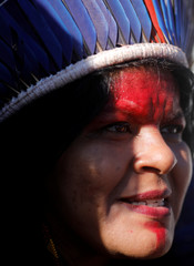 Indigenous Leader Sonia Guajajara speaks during a news conference at the Terra Livre camp, or Free Land camp, in Brasilia