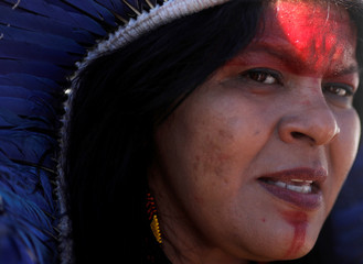 Indigenous Leader Sonia Guajajara talks during a news conference at the Terra Livre camp, or Free Land camp, in Brasilia