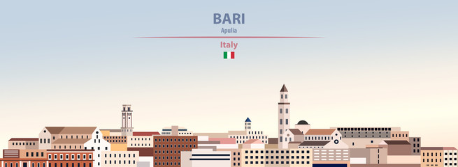 Fototapete - Vector illustration of Bari city skyline on colorful gradient beautiful daytime background
