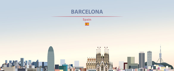 Wall Mural - Vector illustration of Barcelona city skyline on colorful gradient beautiful daytime background
