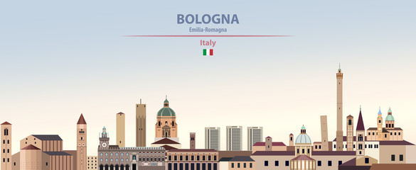 Fototapete - Vector illustration of Bologna city skyline on colorful gradient beautiful daytime background