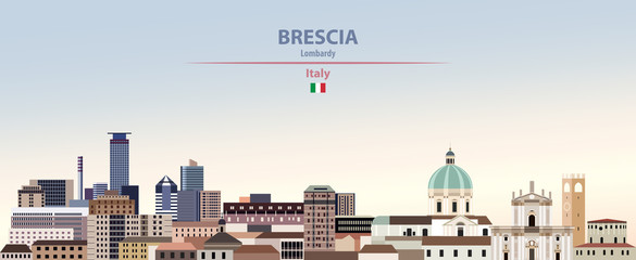 Fototapete - Vector illustration of Brescia city skyline on colorful gradient beautiful daytime background
