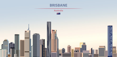 Wall Mural - Vector illustration of Brisbane city skyline on colorful gradient beautiful daytime background