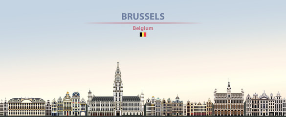 Fototapete - Vector illustration of Brussels city skyline on colorful gradient beautiful daytime background
