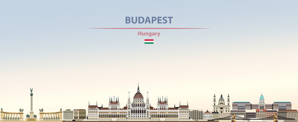 Wall Mural - Vector illustration of Budapest city skyline on colorful gradient beautiful daytime background