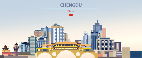 Fototapete - Vector illustration of Chengdu city skyline on colorful gradient beautiful daytime background