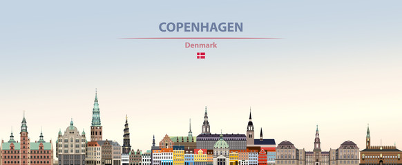 Fototapete - Vector illustration of Copenhagen city skyline on colorful gradient beautiful daytime background