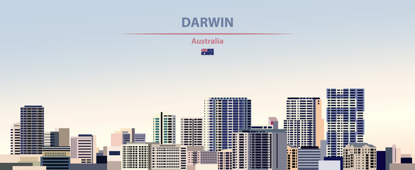 Fototapete - Vector illustration of Darwin city skyline on colorful gradient beautiful daytime background