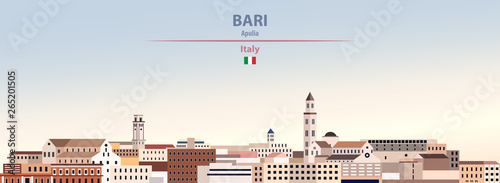Fototapete Vector illustration of Bari city skyline on colorful gradient beautiful daytime background