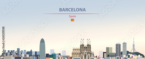 Fototapete Vector illustration of Barcelona city skyline on colorful gradient beautiful daytime background