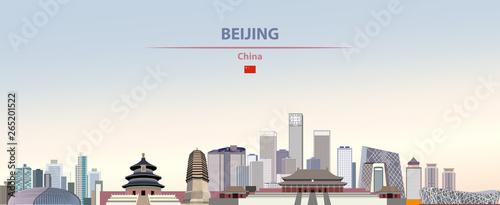 Fototapete Vector illustration of Beijing city skyline on colorful gradient beautiful daytime background
