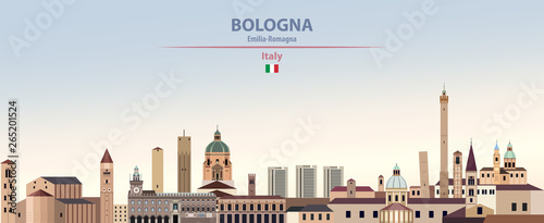 Fototapete Vector illustration of Bologna city skyline on colorful gradient beautiful daytime background