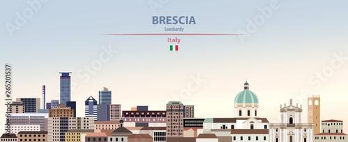 Fototapete Vector illustration of Brescia city skyline on colorful gradient beautiful daytime background