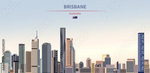 Fototapete Vector illustration of Brisbane city skyline on colorful gradient beautiful daytime background