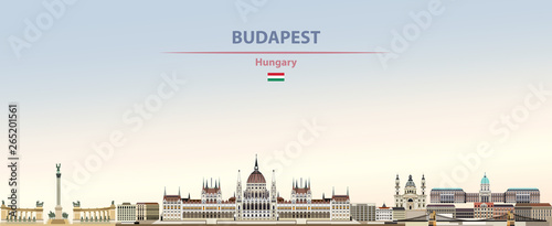 Fototapete Vector illustration of Budapest city skyline on colorful gradient beautiful daytime background