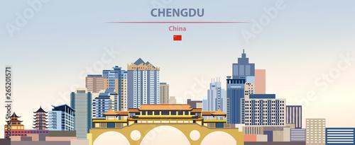 Fototapete Vector illustration of Chengdu city skyline on colorful gradient beautiful daytime background