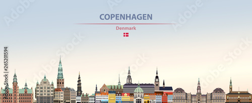 Wall mural Vector illustration of Copenhagen city skyline on colorful gradient beautiful daytime background