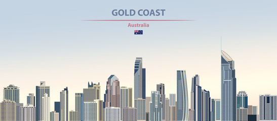 Wall Mural - Vector illustration of Gold Coast city skyline on colorful gradient beautiful daytime background