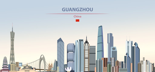 Fototapete - Vector illustration of Guangzhou city skyline on colorful gradient beautiful daytime background