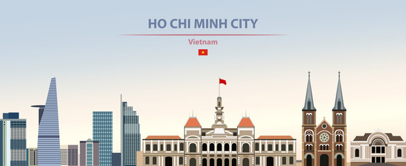 Fototapete - Vector illustration of Ho Chi Minh City skyline on colorful gradient beautiful daytime background