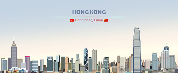 Fototapete - Vector illustration of Hong Kong city skyline on colorful gradient beautiful daytime background