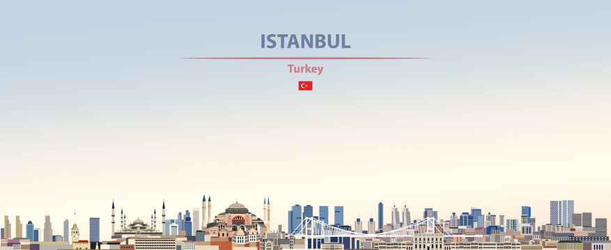 Vector illustration of Istanbul city skyline on colorful gradient beautiful daytime background