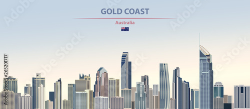 Fototapete Vector illustration of Gold Coast city skyline on colorful gradient beautiful daytime background