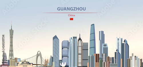Fototapete Vector illustration of Guangzhou city skyline on colorful gradient beautiful daytime background