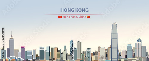 Fototapete Vector illustration of Hong Kong city skyline on colorful gradient beautiful daytime background
