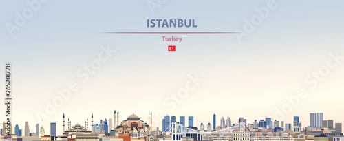 Fototapete Vector illustration of Istanbul city skyline on colorful gradient beautiful daytime background