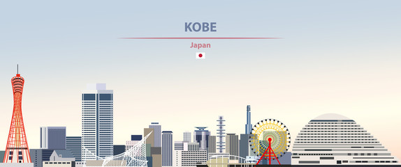 Wall Mural - Vector illustration of Kobe city skyline on colorful gradient beautiful daytime background