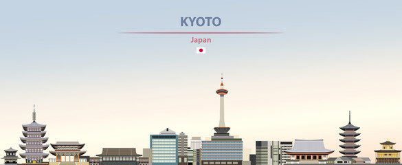 Vector illustration of Kyoto city skyline on colorful gradient beautiful daytime background