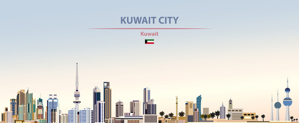 Fototapete - Vector illustration of Kuwait City skyline on colorful gradient beautiful daytime background