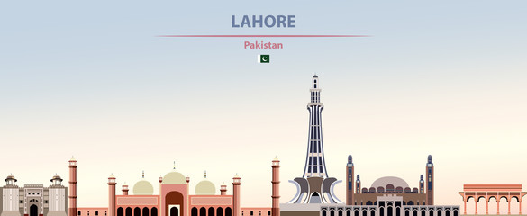 Fototapete - Vector illustration of Lahore city skyline on colorful gradient beautiful daytime background
