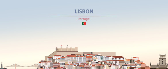 Wall Mural - Vector illustration of Lisbon city skyline on colorful gradient beautiful daytime background