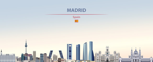 Wall Mural - Vector illustration of Madrid city skyline on colorful gradient beautiful daytime background