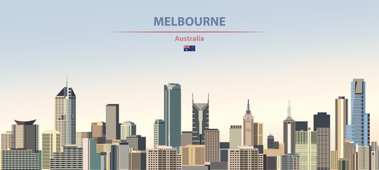 Fototapete - Vector illustration of Melbourne city skyline on colorful gradient beautiful daytime background