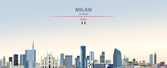 Fototapete - Vector illustration of Milan city skyline on colorful gradient beautiful daytime background