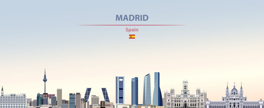 Vector illustration of Madrid city skyline on colorful gradient beautiful daytime background