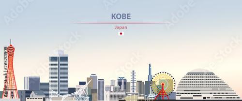 Fototapete Vector illustration of Kobe city skyline on colorful gradient beautiful daytime background