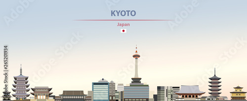 Fototapete Vector illustration of Kyoto city skyline on colorful gradient beautiful daytime background