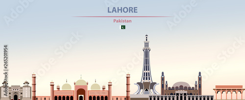 Fototapete Vector illustration of Lahore city skyline on colorful gradient beautiful daytime background
