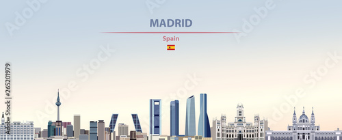 Fototapete Vector illustration of Madrid city skyline on colorful gradient beautiful daytime background