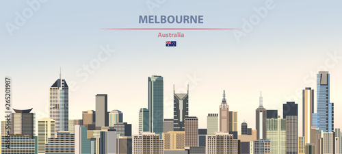 Fototapete Vector illustration of Melbourne city skyline on colorful gradient beautiful daytime background