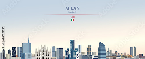 Fototapete Vector illustration of Milan city skyline on colorful gradient beautiful daytime background