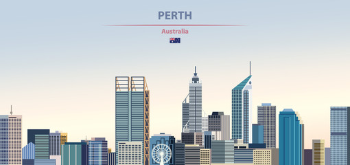 Fototapete - Vector illustration of Perth city skyline on colorful gradient beautiful daytime background