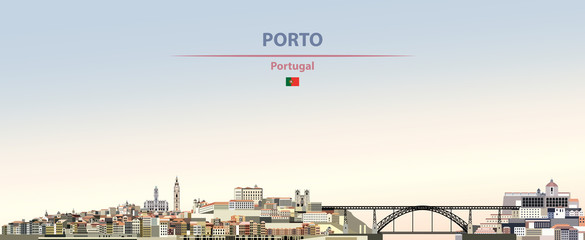 Fototapete - Vector illustration of Porto city skyline on colorful gradient beautiful daytime background