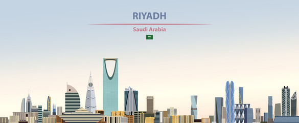 Wall Mural - Vector illustration of Riyadh city skyline on colorful gradient beautiful daytime background