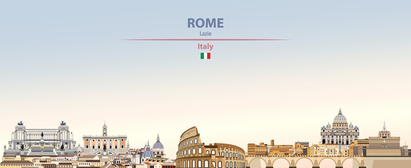 Fototapete - Vector illustration of Rome city skyline on colorful gradient beautiful daytime background